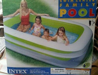 """Intex Swim Center Family Inflatable Pool 103"""" X 69"""" X 22"""" for Ages 6+ Intex"""