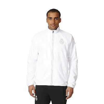 adidas Mens Gents Football Soccer Real Madrid Woven Jacket Top - White