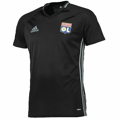 adidas Mens Gents Football Olympique Lyon Training Shirt Jersey Top - Black