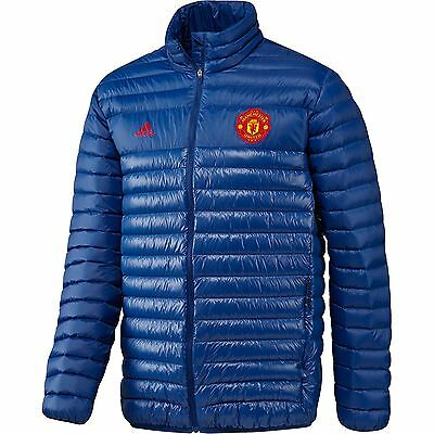 adidas Mens Gents Football Soccer Manchester United Light Down Jacket Top - Blue