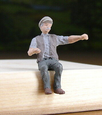 Detailed R.r. Worker Sitting People Pewter Metal Figure O / S Scale Train Layout