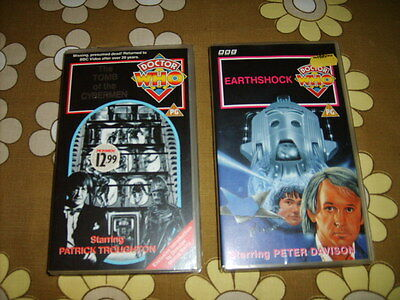 2 Classic Doctor Who Videotapes: Tomb of the Cybermen & Earthshock =Cybertastic!