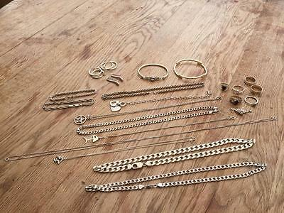 JOB LOT OF ASSORTED HALLMARKED SILVER JEWELLERY RINGS,BRACELETS,CHAINS ETC 243 g
