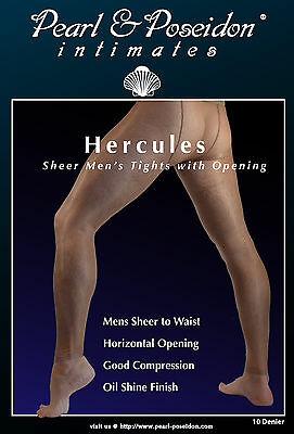 Hercules - Mens Sheer Tights with Opening for Male Anatomy, transparent nylons