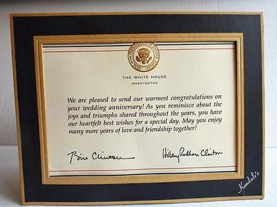 White House Wedding Anniversary Note Card from President Bill & Hillary Clinton