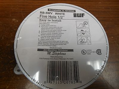 """White Teddico/BWF Round Outlet Box  RB-5WV 5 HOLE 1/2"""" ALL WEATHER"""