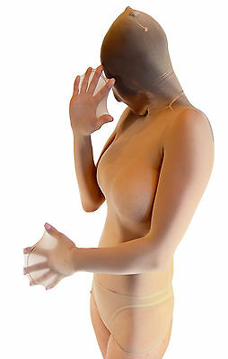 Sheer Total Encasement Nylon Top - Unisex pantyhose long sleeve top closed hood