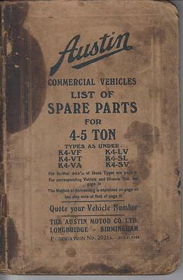 Austin K4 -Vf K4-Vt K4-Va K4-Lv K4-Sl K4-Sv Ww2 Truck Orig. 1943 Parts Catalogue