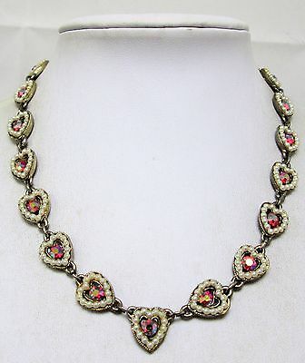 Attractive vintage gold metal, pearl & a.b crystal heart design necklace