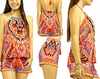Flying Tomato Top Shorts Set Lot S M L Orange Print Outfit Womens Boutique New