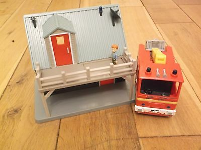 Fireman Sam mountain rescue building, fire engine and Norman figure
