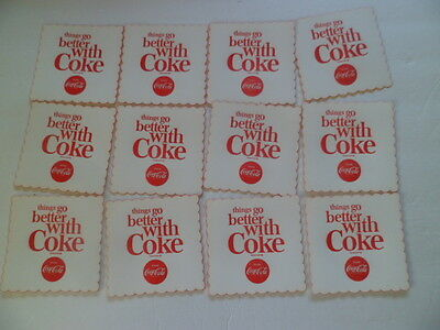 "12 VINTAGE COCA COLA 1960's Coasters ""Things go better with Coke"""