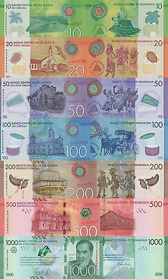 Nicaragua 7 Note Set:10 to 500 Cordobas and Commemorative 1000, p210-pNew UNC