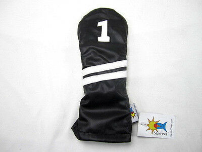 Sunfish leather driver golf headcover - black with white stripes