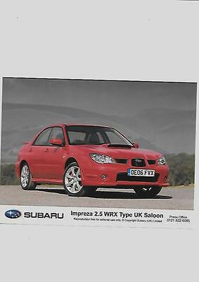 "SUBARU IMPREZA 2.5 WRX TYPE UK SALOON ORIGINAL PRESS PHOTO  "" Brochure """
