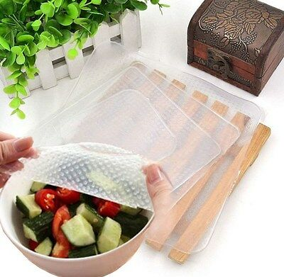 Silicone Storage Food Wrapper Just Stretch And Seal 4 pieces