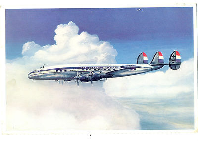 1956 KLM  Airlines Issued Lockheed Super Constellation L-1049G  Postcard