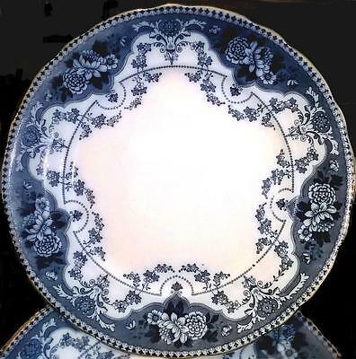 """F. & Sons. (Ford & Sons)  5 x Flow Blue """"ARGYLE""""  10.5"""" {26.5CMS} Dinner Plate"""