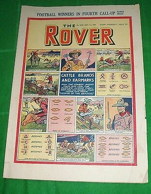 Rover Comic 1951 Super Cattle Brands & Earmarks  Colour Cover Feature