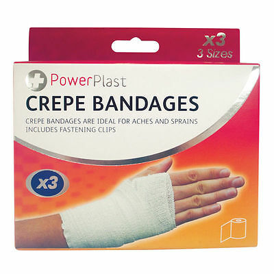 3 Pack Assorted Size CREPE BANDAGES IDEAL FOR ACHES & SPRAINS- FAST AIDS NEW