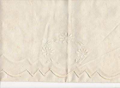 L399  Antique table runner embroidery scalloped  edges, 18X46