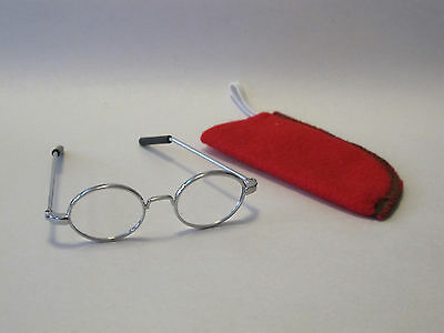 American Girl Silver Round Glasses for Dolls Molly with red felt case NEW