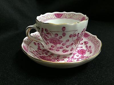"Meissen ""Purple Indian"" Flowers Demitasse Cup and Saucer-Perfect! 1st Quality"