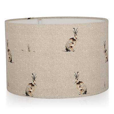 Fryetts Natural Hartley Hare Linen Background Lampshade Ceiling,Table Lamp Shade