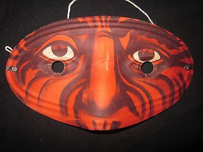ANTIQUE 20's/30's ART DECO -OLD STOCK-HALLOWEEN 'SCARY' DEVIL PAPER MASKS-JAPAN