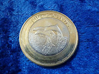 Gibraltar £2 Two Pounds Dolphins 2014 lightly circulated