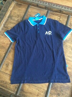 NEW WITH TAGS Official 2017 Australian Open Mens Polo SZ L TENNIS T-SHIRT NAVY