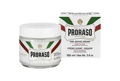 Proraso White Pre-Shave Cream with Green Tea and Oatmeal for Sensitive Skin 100m