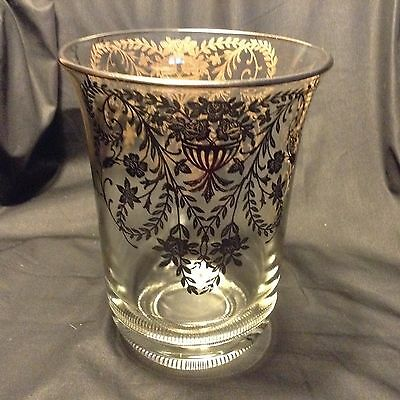 "EXQUISITE Vtg SILVER OVERLAID VASE 8x6"" ROSES+ Pretty rim/Heavy about 3 lbs"