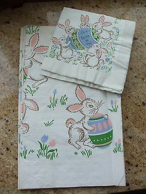 Vintage Easter Tablecloth Napkins Table Cover Paper Beach Bunnies Eggs Flowers