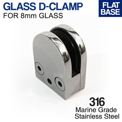 316 Stainless Steel 8mm GLASS D-CLAMP - ROUND BASE - Balustrade Fitting Fence