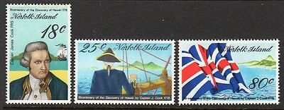 1978 NORFOLK ISLAND CAPTAIN COOK BICENTENARY 5th issue SG200-202 mint unhinged