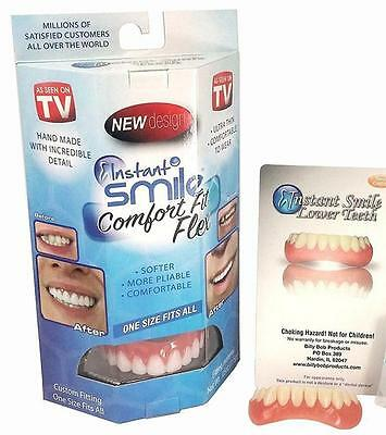 new FLEXIBLE INSTANT FIX TEETH IN MINUTES makeover TOP & BOTTOM SET W 4 EX BEADS