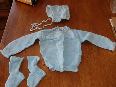 Antique Baby Clothes Blue Dupont Sweater Bonnet socks Knit 4 pc  ybe