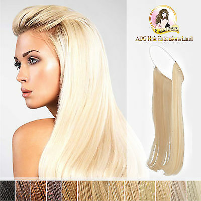 """20"""" European Remy Halo Hair Extensions Double Drawn 100g Brown blonde black"""