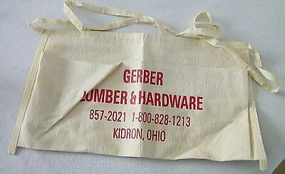 Vintage Old Advertising Nail Tool Apron Gerber Lumber & Hardware Kidron Ohio #1