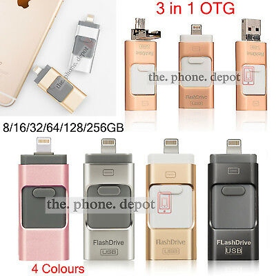 32 64 128G USB i Flash Drive OTG Device Memory Stick For iPhone IOS iPad Android