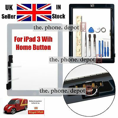 Replacement For IPAD 3 4 Touch Screen Digitizer Front Glass Home Button White UK