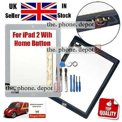 Replacement For IPAD 2 Touch Screen Digitizer Front Glass With Home Button White