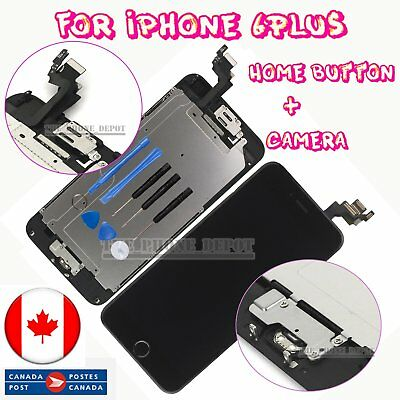 """For iPhone 6 Plus 5.5"""" Black LCD Touch Screen Digitizer & Home Button Camera CA"""