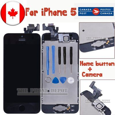 For iPhone 5 LCD Screen Digitizer Replacement Assembly HomeButton Camera Black