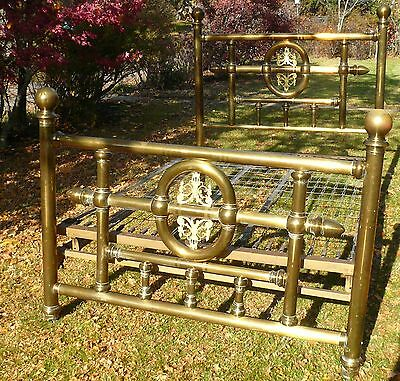 ANTIQUE DOUBLE / FULL ORNATE BIG TUBE BRASS BED CANNONBALL w/ SPRING PLATFORM