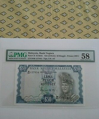Malaysia 50 Ringgit AUNC PMG58  There is no fold.
