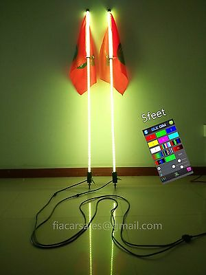 2PCS BRIGHTER 4feet Quick Release RGB Light Whips Dual Control Strips Shipped