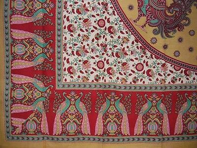 "Floral Peacock Cotton Tablecloth 88"" x 60"" Red"