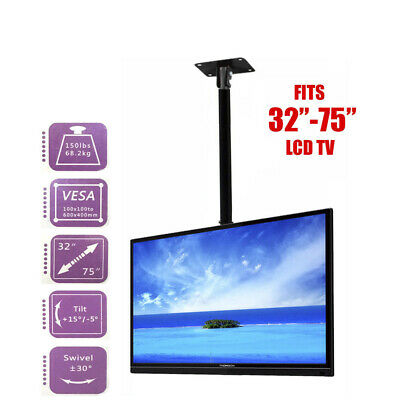 "TV Mount Adjustable Wall Bracket Tilt 32""-75"" LCD LED Plasma Ceiling Roof"